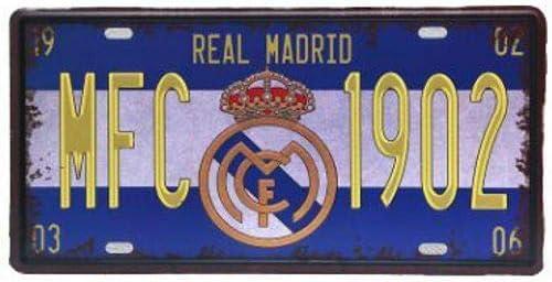 Placa de matrícula vintage del Real Madrid de 6 x 12 pulgadas: Amazon.es: Hogar