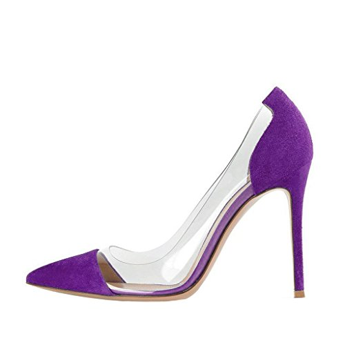 Noi Sera Donne 4 Sul Partito Dimensioni Matrimonio Stiletto Chiare Scivolare Viola Fsj Tacchi Da Scarpe Elegante 15 Alti 4CnxSOnqaw