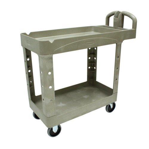 Rubbermaid Commercial 450088BG Heavy-Duty Utility Cart Two-Shelf 17-1/8w x 38-1/2d x 38-7/8h Beige