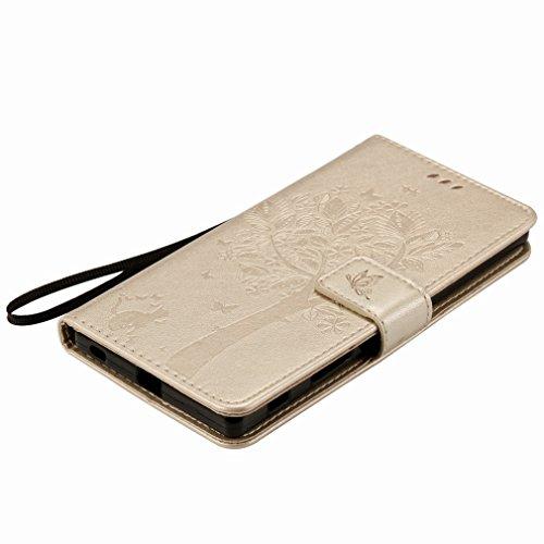 Custodia Sony Xperia Z5 Premium Cover Case, Ougger Alberi Gatto Printing Portafoglio PU Pelle Magnetico Stand Morbido Silicone Flip Bumper Protettivo Gomma Shell Borsa Custodie con Slot per Schede (Or