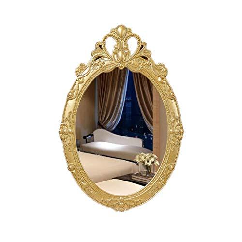 Bathroom Mirror, Wall Mounted Dressing Mirror,Vintage Oval Wood Carved Frame,Elegant Ornate Home - Wood Bathroom Carved Mirrors