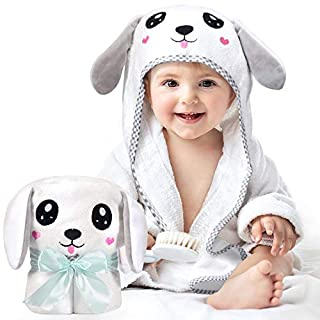 Kaome Large Size Hooded Towels for Baby, Organic Bamboo Toddler Towels fit 0-5 Years Old Baby Bath Towels, Super Soft and Absorbent, Machine Washable, 35 x 35 in