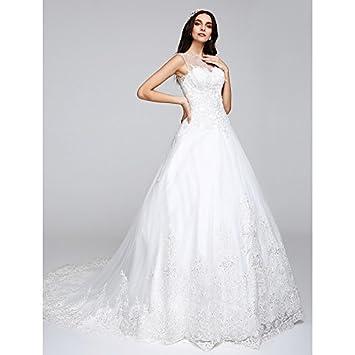 kekafu Una línea de tren Capilla Princess ilusión escote tul vestido de novia con apliques por