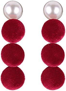 JJLESUN Pendientes Colgantes Redondos Colgantes De Borla Elegantes Pendientes De Perlas Hechos A Mano con Perlas para Mujeres Pendientes De Flecos