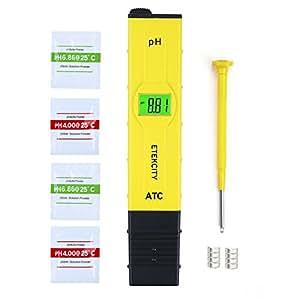 Etekcity pH Medidor de Digital Portátil de Alta Precisión con ATC, LCD Retroiluminación y Funda, Tester para Acuarios, Industria de la Pesca, Piscinas, Laboratorios Escolares, Alimentos