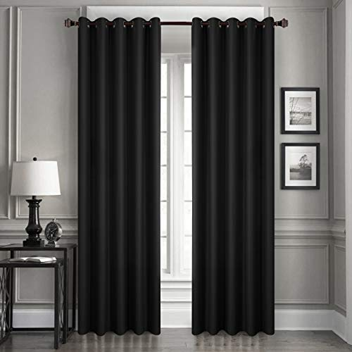 (Dreaming Casa Solid Blackout Curtain for Bedroom 96 Inches Long Draperies Window Treatment 2 Panels Black Grommet Top 2(52