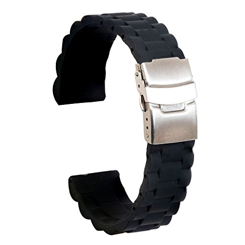 Ullchro Silicone Watch Strap Replacement Rubber Watch Band Waterproof Link Pattern - 16mm, 18mm, 20mm, 22mm, 24mm Watch Bracelet with Stainless Steel Deployment Buckle (22mm, - Rubber Link Mens