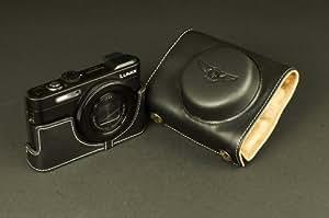 BLACK color Genuine real COW leather case bag for Panasonic LUMIX DMC-LF1 LF-1 camera