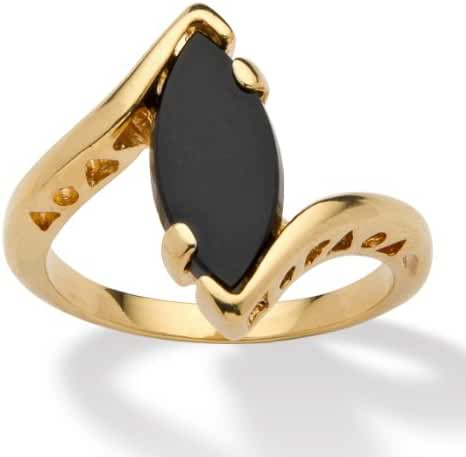 Genuine Black Onyx 14k Yellow Gold-Plated Classic Marquise Bypass Ring