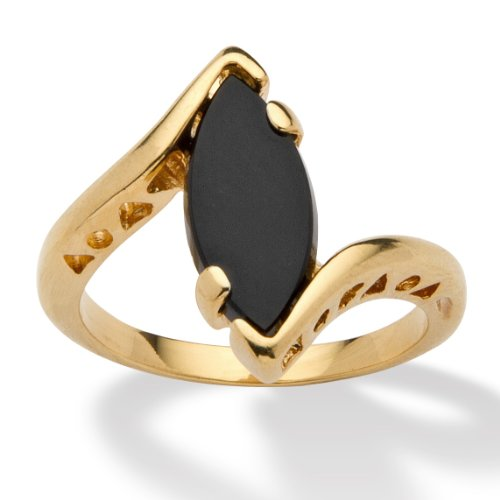 Palm Beach Jewelry Genuine Black Onyx 14k Yellow Gold-Plated Classic Marquise Bypass Ring Size 8