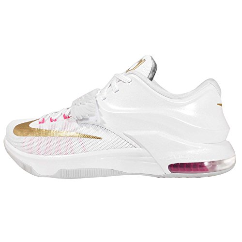 Nike Men's KD VII PRM EP, Aunt Pearl-WHITE/MTLLC GOLD-PINK POW-OR PLTB, 8.5 M US