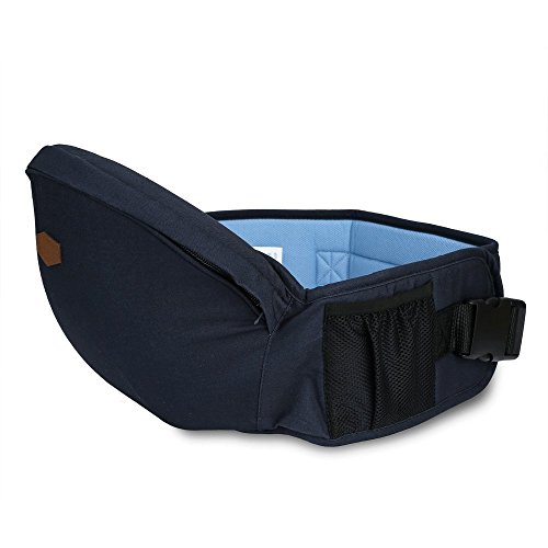 - Baby Hip Seat Carrier Toddler Waist Belt with Adjustable Strap and Mesh Pocket (Blue)