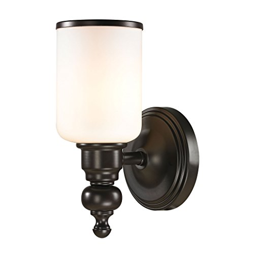 Alumbrada Collection Bristol Way 1 Light Vanity In Oil Rubbed Bronze And Opal White Glass