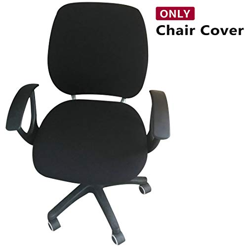Jiyaru Rotating Armchair Slipcover Removable Stretch Computer Office Chair Cover Black (Only Cover)
