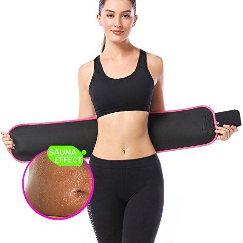 [DANLOTE Waist Trimmer Belt Weight Loss Waist Cincher Trainer with Sauna Suit Effect-Best Sweat Enhancer Fat Burner for Women&men (Pink, L)] (Pink Sweat Suits)