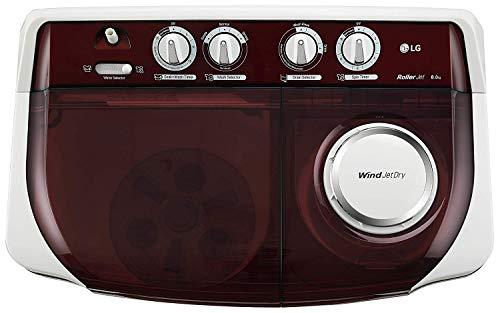 LG 8 Kg 5 Star Semi-Automatic Top Loading Washing Machine (P8035SRMZ, Burgundy, Collar Scrubber) Discounts Junction