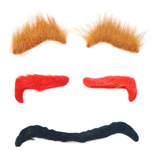 TINKSKY 3PCS Halloween Simulation Eyebrow Masquerade Costume Ball Cosplay Party Funny Props Ghost Eyebrows Accessory ()