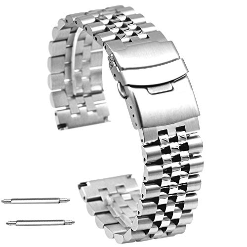 Premium 3-Dimensional Effect 20mm Stainless Steel Watch Band Straps Round&Sturdy Silver Metal Watch Bracelet with Double Locks Diver Clasp for Men Women (Watch Divers Clasp Band)