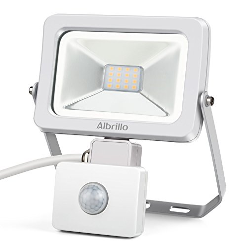 Albrillo Outdoor Motion Sensor Flood Lights, 10W 100 Watt Equivalent LED Security Light Waterproof IP54 for Patio Yard Garden Garage, Soft White 3000K