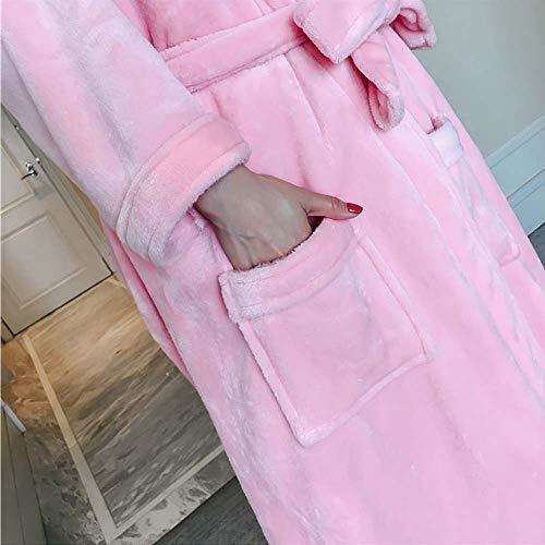 Pink E Franela Albornoz Suelta Las Mujeres Hogar Rosa Xxl Otoño Pijamas De Solapa Invierno Pink Gjfeng Tamaño color Cinturón Bordada qHwpgg
