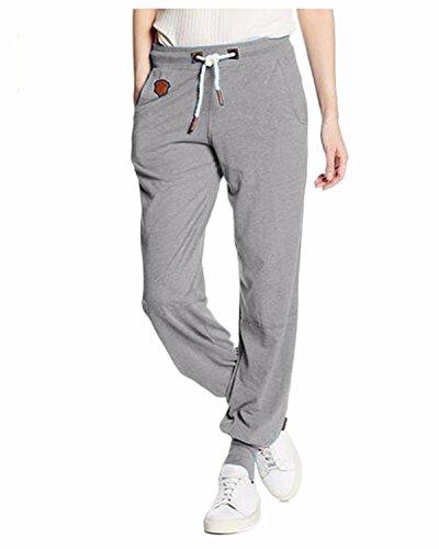 Auxo Femme Plain Casual Pantalons Sports Physique Slim Extensible Jambières Joggings Poches Pantalons Gris EU 38