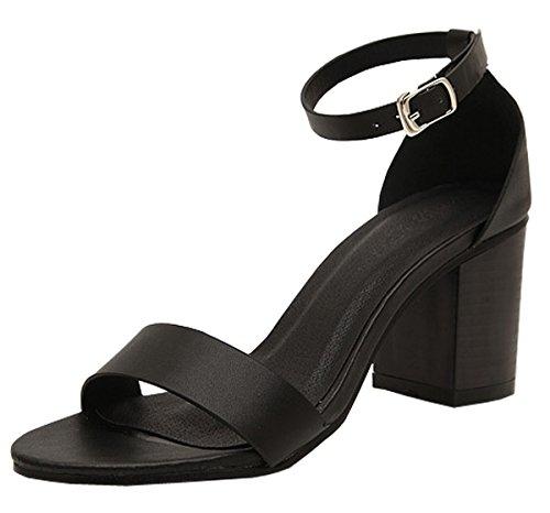 Harshiono Moda Donna Sexy Mid Tacco Cinturino Alla Caviglia Open Toe Stiletti Piattaforma Sandali Pompe Nere