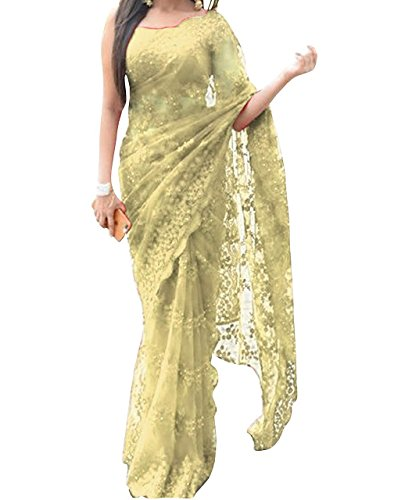 7d7e5f1050 Isha Enterprise Women's Nylon Net Saree With Blouse  Piece(KFPSN-111-E_Yellow): Amazon.in: Clothing & Accessories