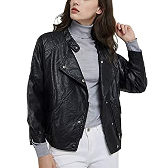 DISSA PP1899 Women Faux Leather Bomber Jacket Loose Coat,Black,S,UK 10