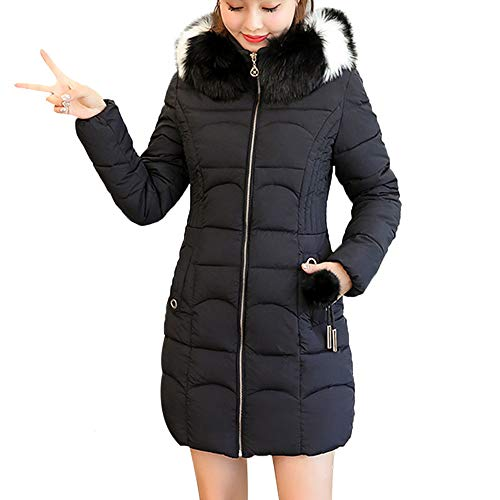 Limsea 2018 Women Outwear Jacket Coat Parka Hooded Solid Warm Long Thick Fur Cotton Slim XXX-Large Black ()