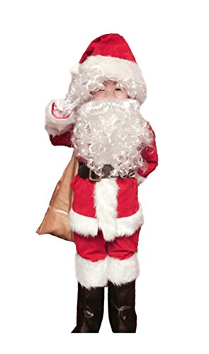 OVOV 10 Pcs Complete Santa Claus Christmas Suit Set Kids Costume Xmas Party Cosplay (Medium)