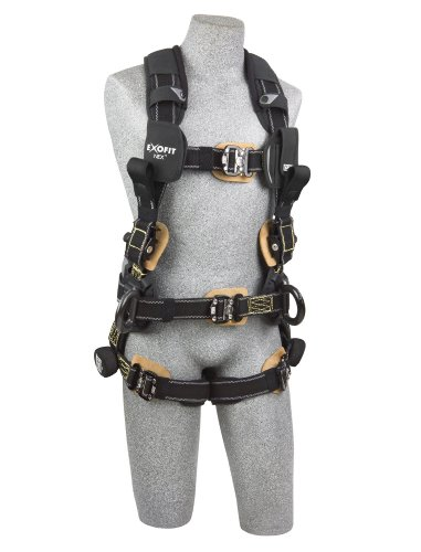 3M DBI-SALA ExoFit NEX 1113323 Full Body Arc Flash Harness, Back/Front Web Rescue Loops, Belt w/pad, PVC Coated Alum Side D-Rings, Locking QC Leg Straps, X-Large, Black by 3M Fall Protection Business (Image #2)