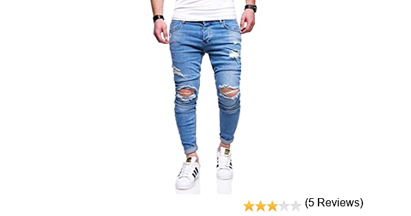 BEHYPE Mens Jeans Pants with Destroyed effect and Ripped Knees JN-2763