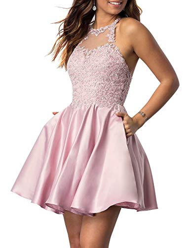 NaXY Juniors Halter Sleeveless Applique Beaded Short Homecoming Dresses with Pockets Pink