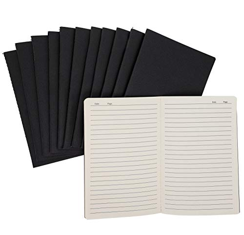 Paper Junkie 12 Pack A5 Kraft Black Cover Lined Journal Notebooks, 5.5 x 8 -