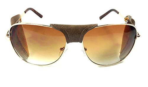 bf89805fb1 Retro Aviator Sunglasses w  Faux Leather Bridge   Side Shields (Gold Frame  - Brown