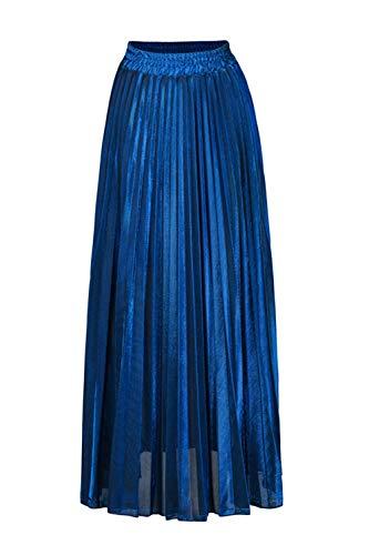 Maxi Jupe yulinge Femmes Haute Plisse Paillettes Jupes Taille Bleu 47EYwrEq