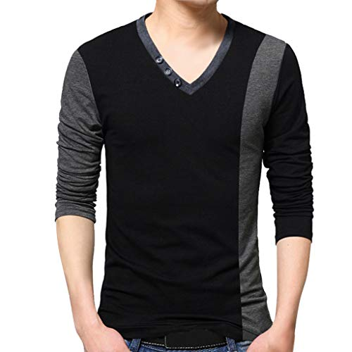 (Sunyastor Men's Polo T Shirts, Spring Casual V Collar Henley T-Shirt Slim Fit Long Sleeve Shirts Blouse Tops)