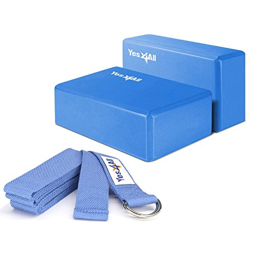 Yes4All Yoga Blocks (2 pcs x 4 inch) and Yoga Strap with D Ring – Multi Color Available