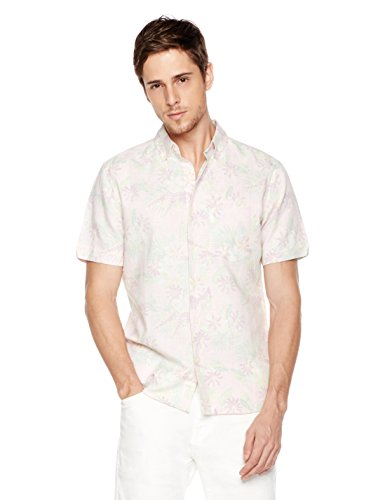 Hawaiian Linen (Isle Bay Linens Men's Slim Fit Short Sleeve Toile Vintage Printed Linen Cotton Casual Hawaiian Shirt L Pink)