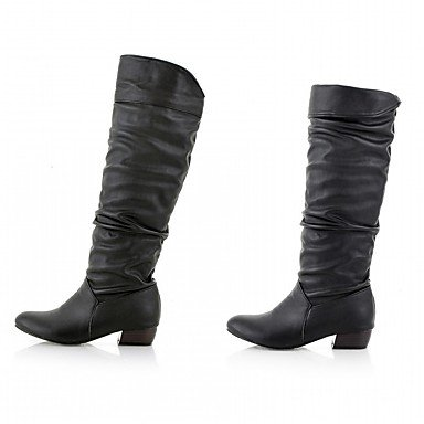 amp;Amp; Shoes Toe Pu For Fashion Knee Round High Boots Winter Evening Novelty US9 Chunky Comfort Women'S CN41 RTRY Leatherette Heel Boots EU40 UK7 Boots Party Fall R6qwEx5nA