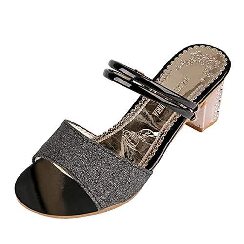 Block Or les pour Zhrui avec Tongs des femmes paillettes Uk Heel couleur Taille 2 Noir Sandales qP8Yx8wAU