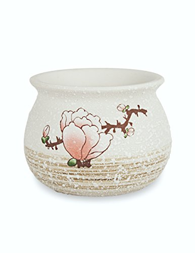 Dahlia Plum Blossom Hand Painted Ceramic Succulent Planter/Plant Pot/Flower Pot/Bonsai Pot, - Painted Plant Pots