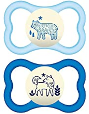 MAM Air Night Pacifiers (2 Pack, 1 Sterilizing Pacifier Case), MAM Sensitive Skin Pacifier 6+ Months, Glow in The Dark Pacifier, Best Pacifier for Breastfed Babies