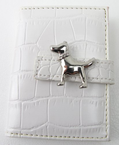 Pocket Size Faux Leather Photo Book Brag Book White Dog Snap Closure