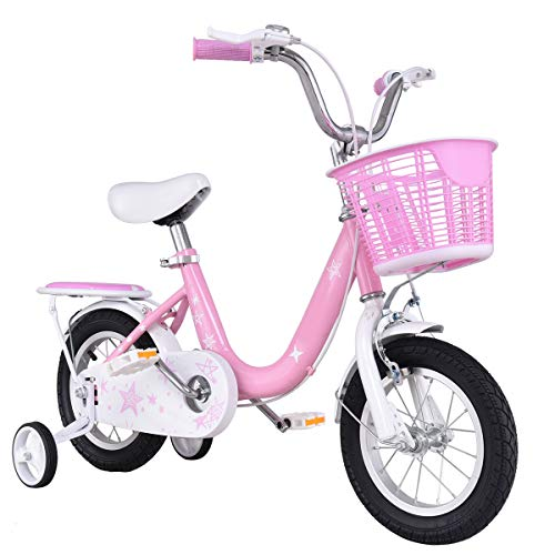 "Goplus Kids Bike w/Training Wheels and Basket, 12"" 16"" Boy's and Girl's Bicycle, Gift for Children Kids Balance Bike (Pink, 16"") -  Superbuy, SU-570651PI-YTXIN"