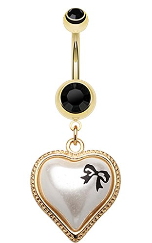 Golden Colored Puffed Pearl Bow-Tie Heart Belly Button Ring - 14 GA (1.6mm) - Black - Sold Individually