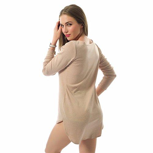 QIYUN.Z Mujeres Del Vestido Ocasional De La Manga Larga Irregular Del Dobladillo De La Camisa Blusas Mini Club Turno Albaricoque