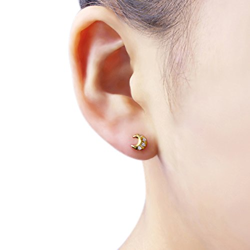 14K Yellow Gold Moon /& Star Screwback Stud Earrings