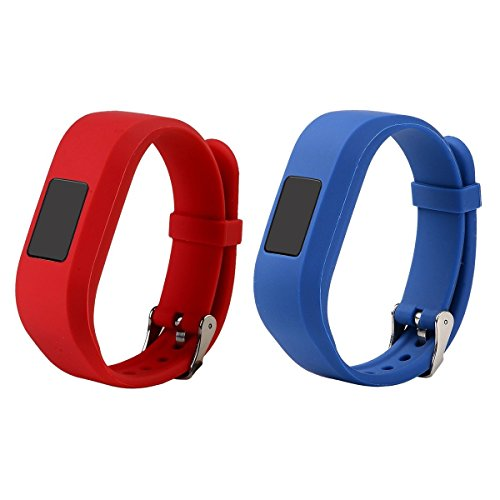 RuenTech Compatible for Garmin vivofit jr and vivofit jr 2 Replacement Band (Kids Bands) Colorful Adjustable Wristbands with Secure Watch-Style Clasp Strap for Vivofit JR (Red and DarkBlue)