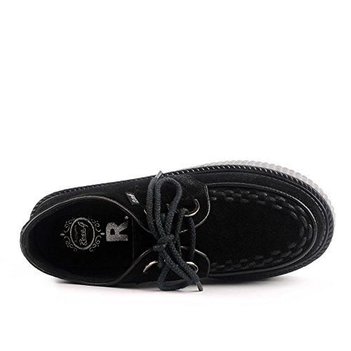 RoseG Mujer Zapatos Plataforma Enredaderas Velvet Cordones Negro